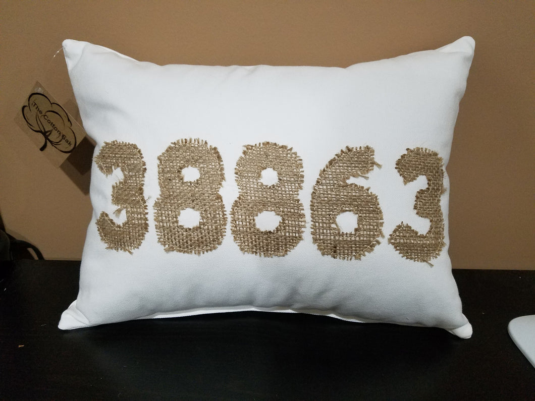 Zip Code Applique Pillow