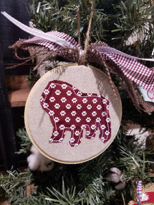 Bulldog Applique Farmhouse Christmas Ornament