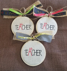 Teacher Farmhouse Christmas Ornament
