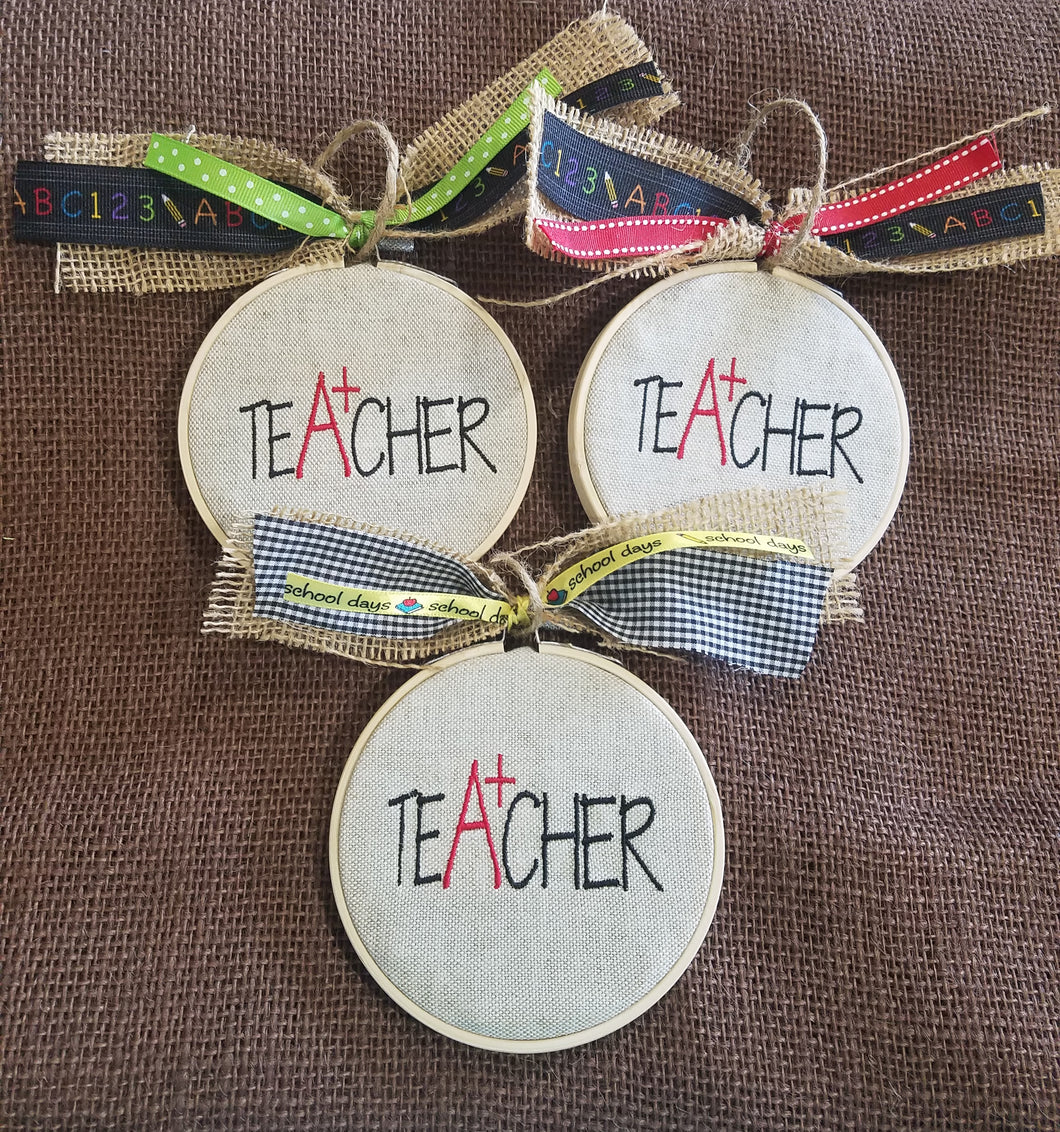 Teacher Farmhouse Christmas Ornament (F-CA-128)
