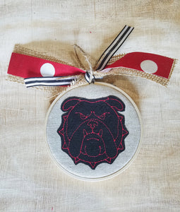 Bulldog Face Applique Farmhouse Christmas Ornament