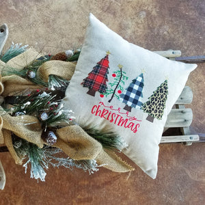 4 Trees Merry Christmas Pillow (P-SW-111)