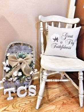 Great is Thy Faithfulness Cotton Boll Pillow (P-SC-123)