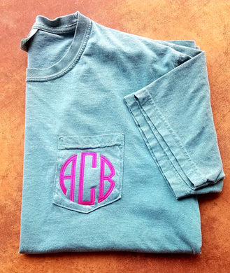 Circle Monogrammed Comfort Colors Pocket Tshirt