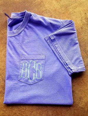 Fishtail Monogrammed Comfort Colors Pocket Tshirt