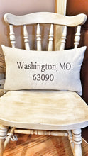 Load image into Gallery viewer, City, State, Zip Code Pillow (P-LC-113)