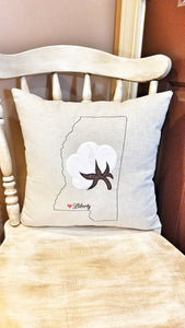 Mississippi Cotton Boll Town Heart Pillow (P-SC-129)