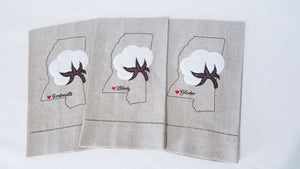 Mississippi Cotton Boll Town Heart Towel (T-SC-121)