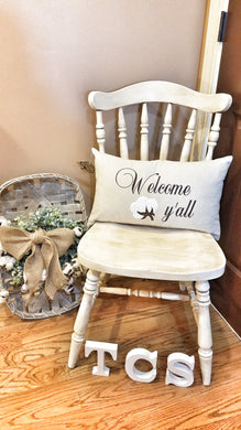 Welcome Y'all Cotton Boll Pillow (P-SC-139)