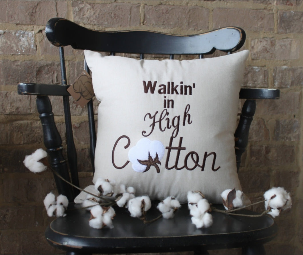 Walkin' In High Cotton Pillow (P-SC-137)