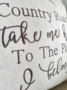 Country Roads Take Me Home Pillow (P-FL-117)