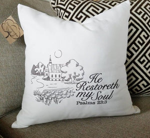 He Restoreth My Soul Pillow (P-FL-124)