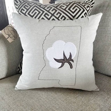 Mississippi Cotton Boll Pillow (P-SC-128)