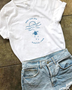 ** Keep our Sea Plastic-Free Tee - White - Onedegreeworld