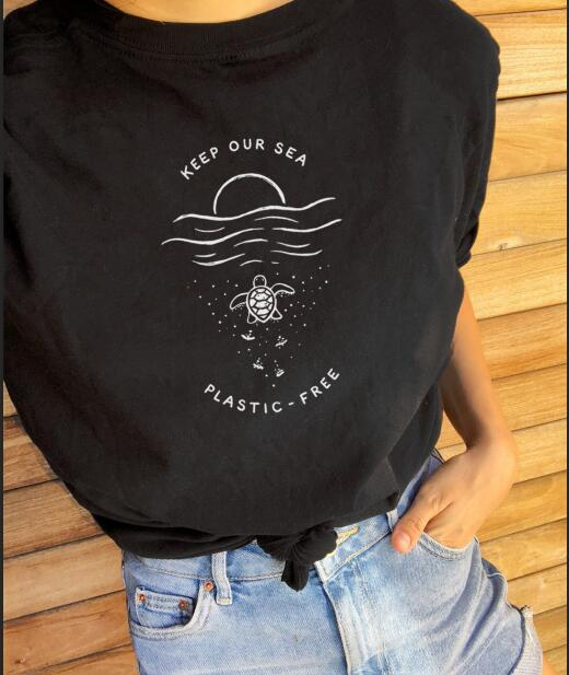 ** Keep our Sea Plastic Free Tee - Black - Onedegreeworld