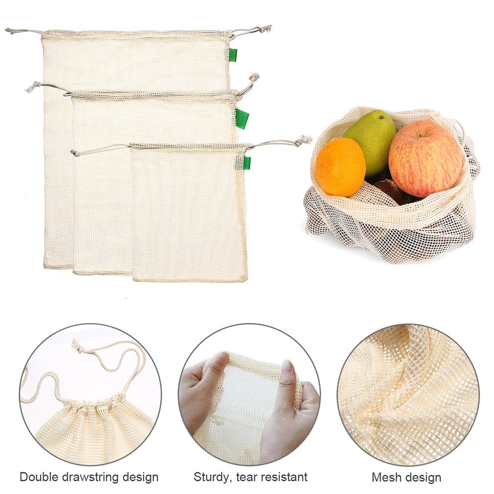 Organic Cotton Reusable Produce Bags (9pcs) - Onedegreeworld