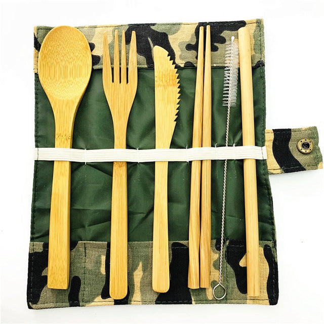 Bamboo Utensils Travel Cutlery Set - Camo - Onedegreeworld