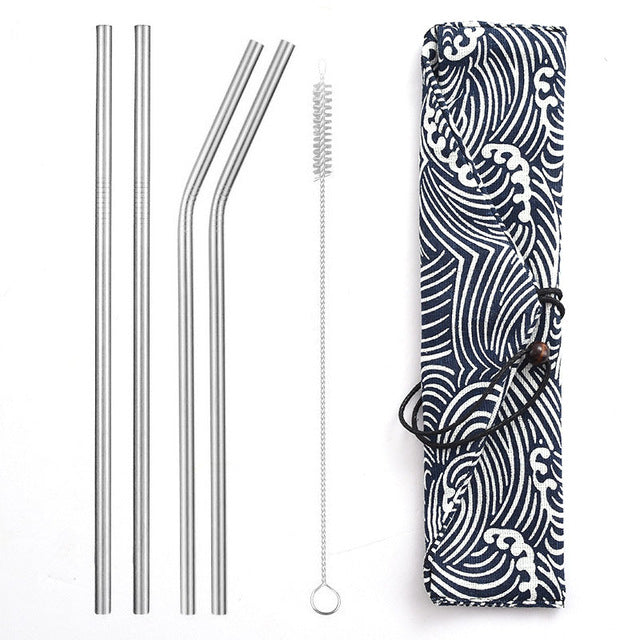 Reusable Metal Drinking Straws with Trendy Carrying Bag - Silver Set - Onedegreeworld