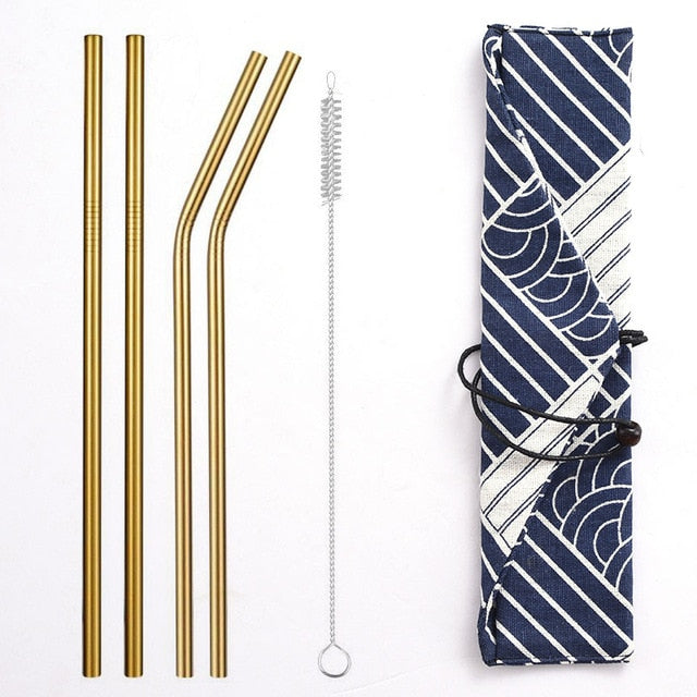 Reusable Metal Drinking Straws with Trendy Carrying Bag - Gold Set - Onedegreeworld