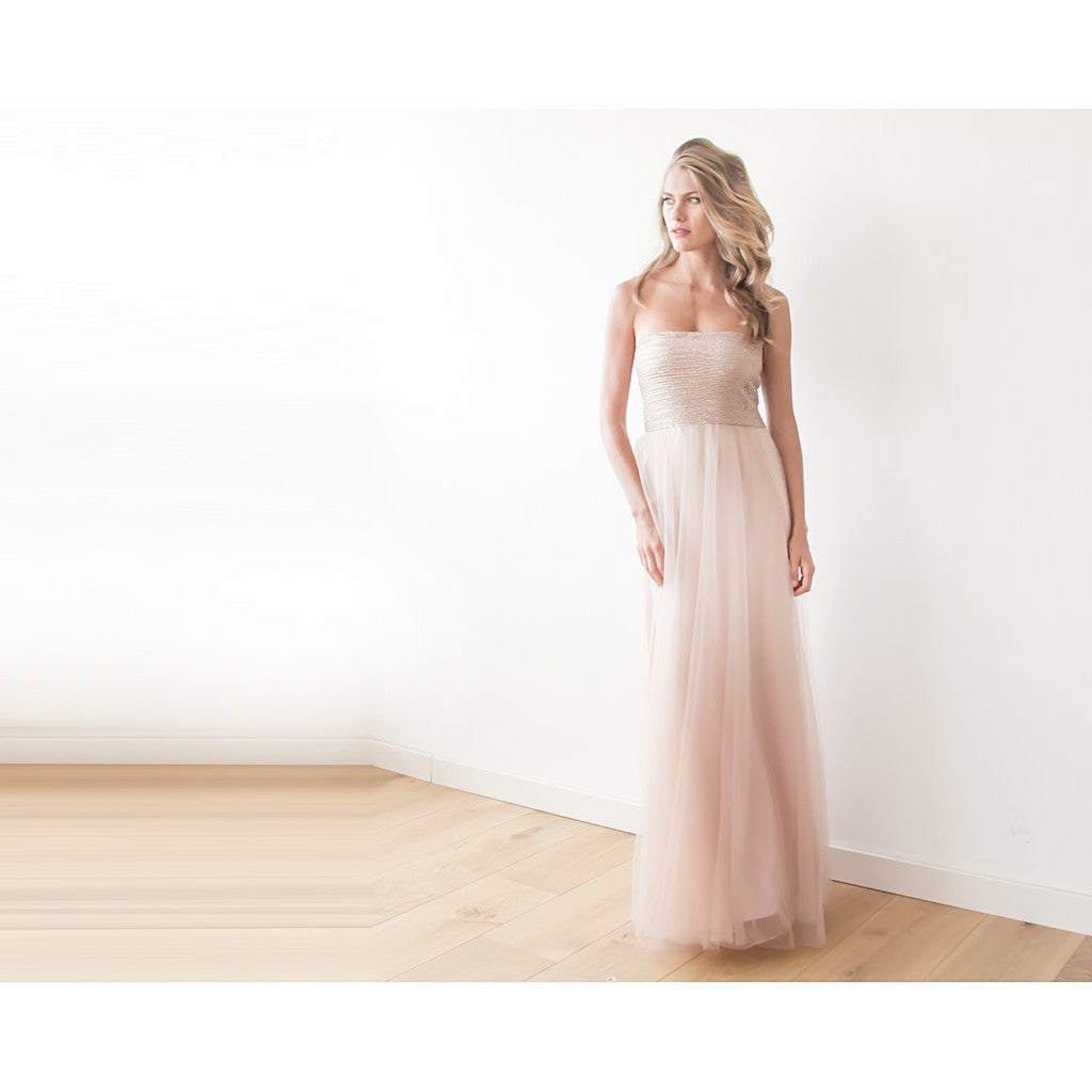 Pink sequin strapless maxi tulle dress - Brownie Sparkles - 1