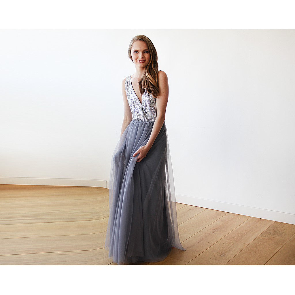 Silver sequins and grey maxi tulle gown - Brownie Sparkles - 6