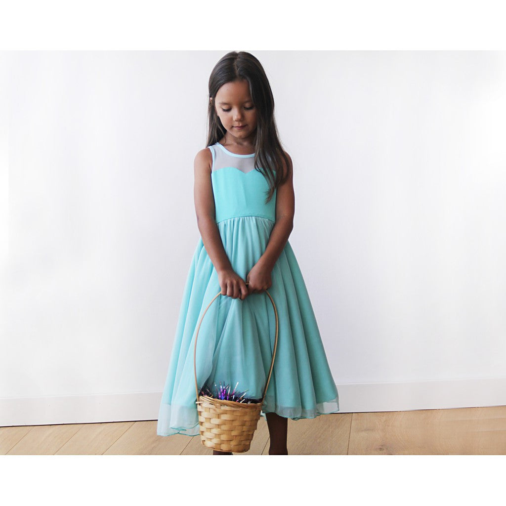 Sweetheart Turquoise flower girl dress - Brownie Sparkles - 3