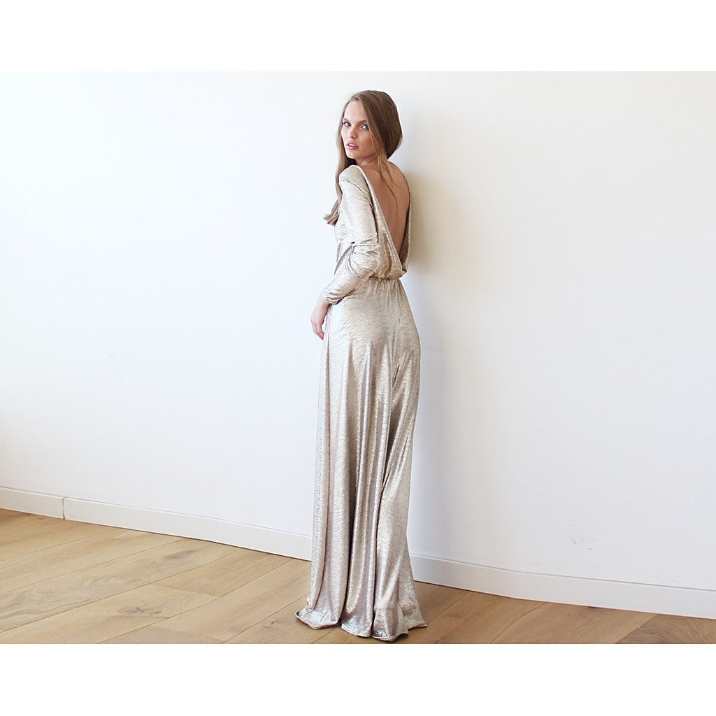 Light Gold Backless maxi dress with long sleeves - Brownie Sparkles - 2