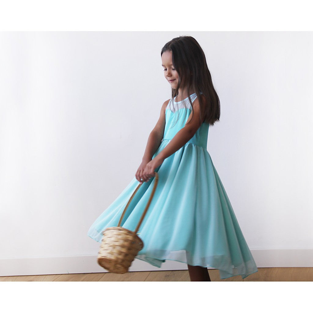 Sweetheart Turquoise flower girl dress - Brownie Sparkles - 1