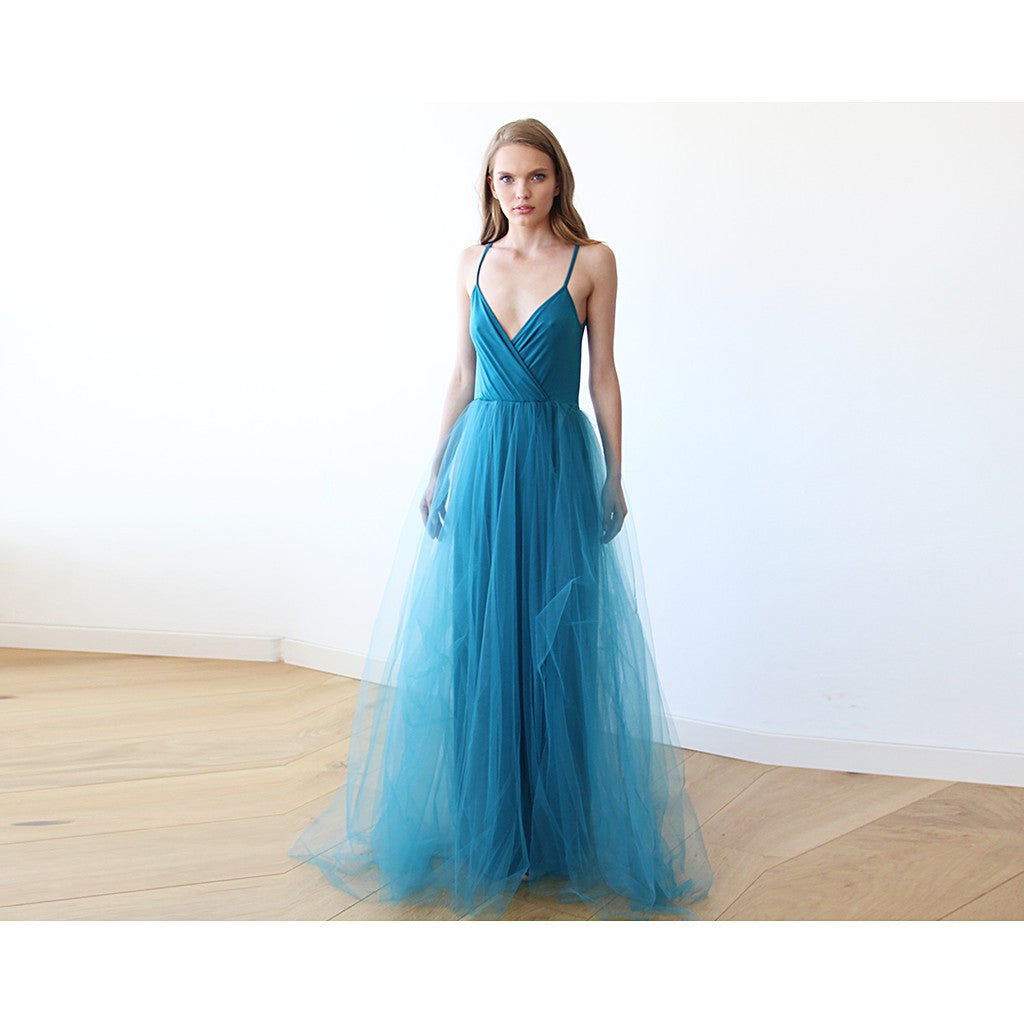 Teal blue straps maxi tulle dress - Brownie Sparkles - 1