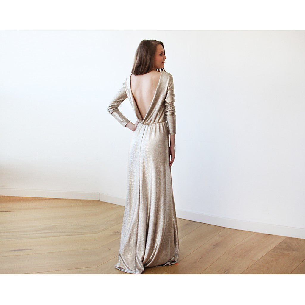 Light Gold Backless maxi dress with long sleeves - Brownie Sparkles - 1