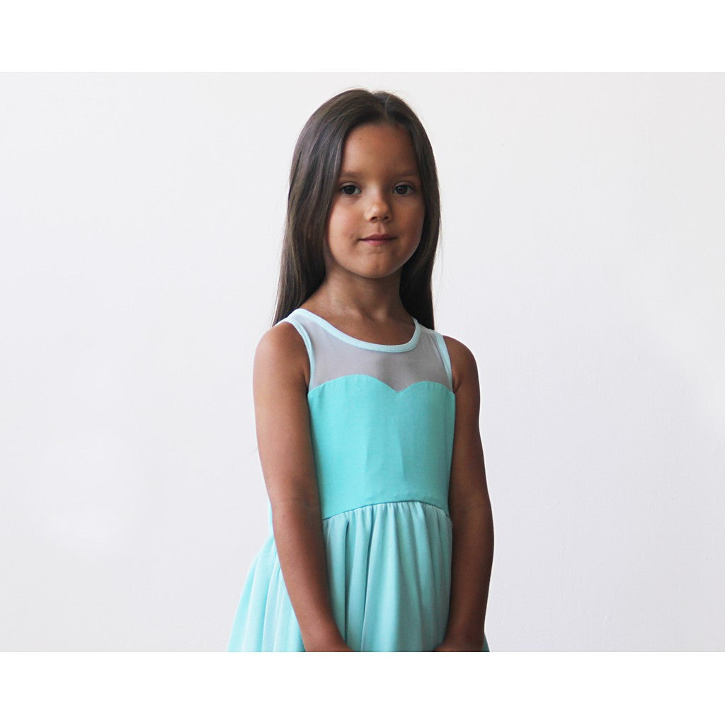 Sweetheart Turquoise flower girl dress - Brownie Sparkles - 4