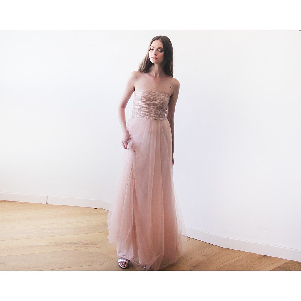 Pink sequin strapless maxi tulle dress - Brownie Sparkles - 5