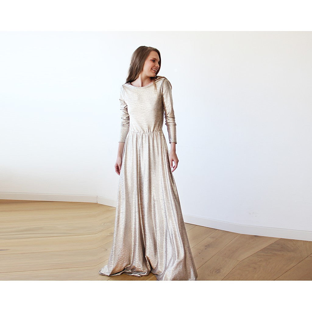 Light Gold Backless maxi dress with long sleeves - Brownie Sparkles - 3