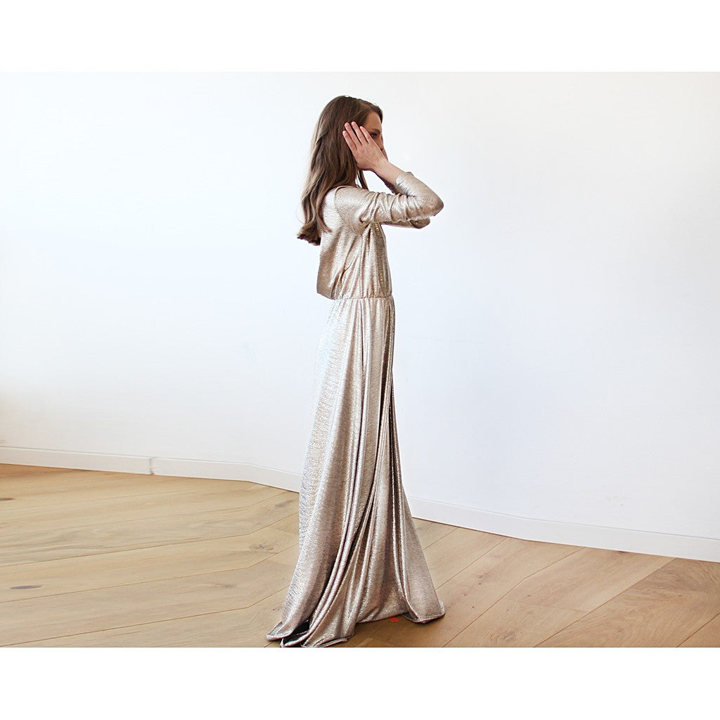 Light Gold Backless maxi dress with long sleeves - Brownie Sparkles - 4