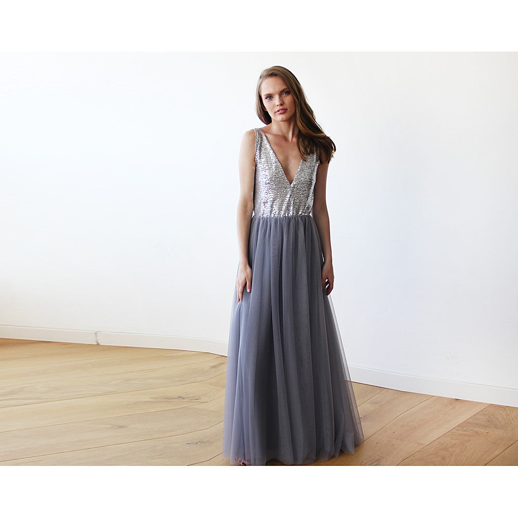 Silver sequins and grey maxi tulle gown - Brownie Sparkles - 4