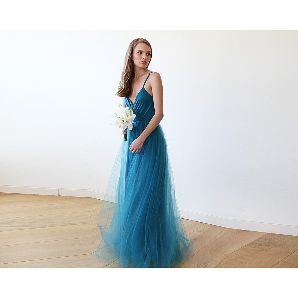 Teal blue straps maxi tulle dress - Brownie Sparkles - 3