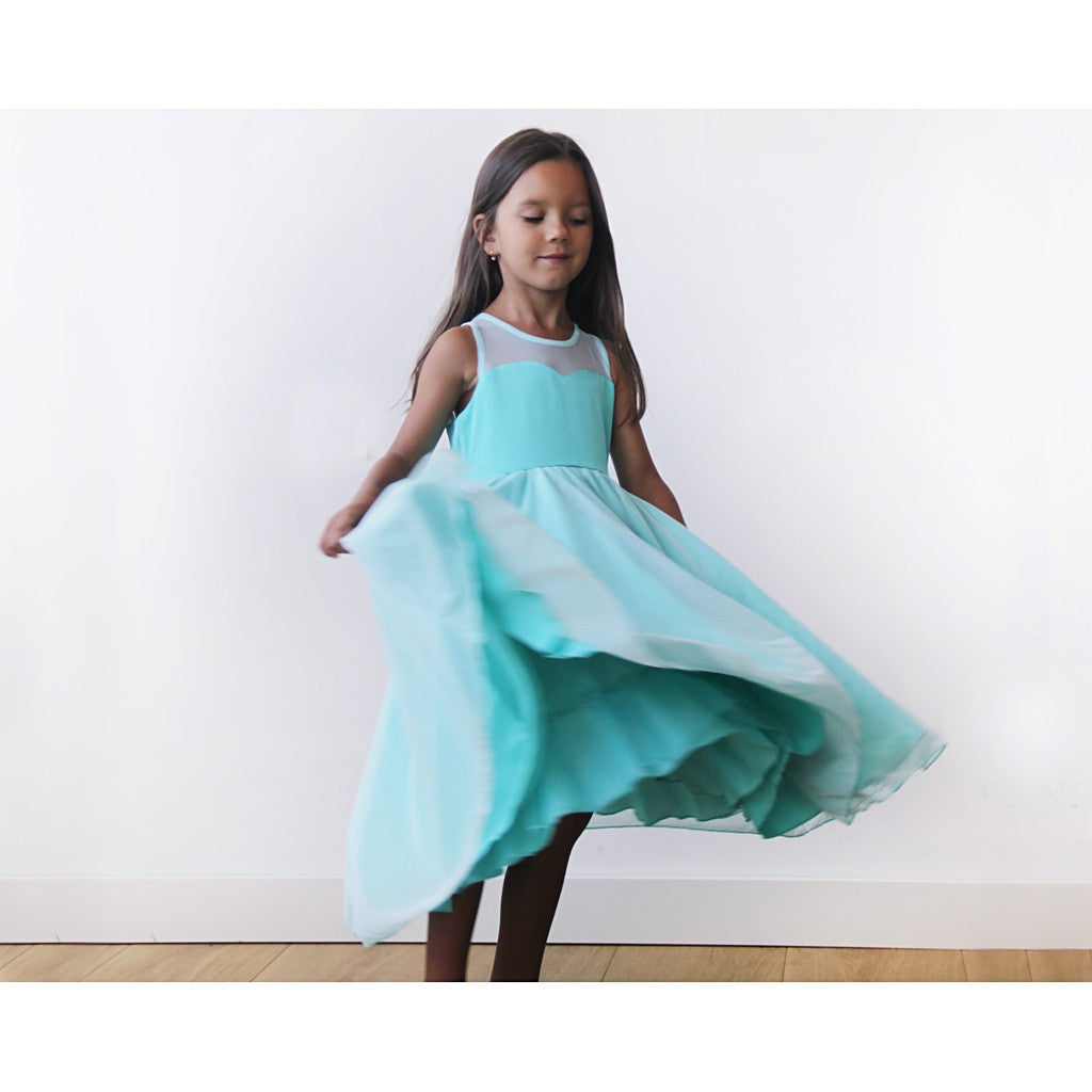 Sweetheart Turquoise flower girl dress - Brownie Sparkles - 2