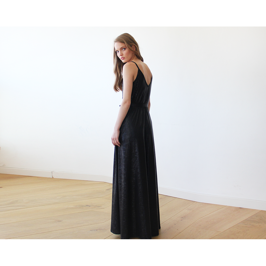 Metallic Black Wrap Gown With Slit 1110