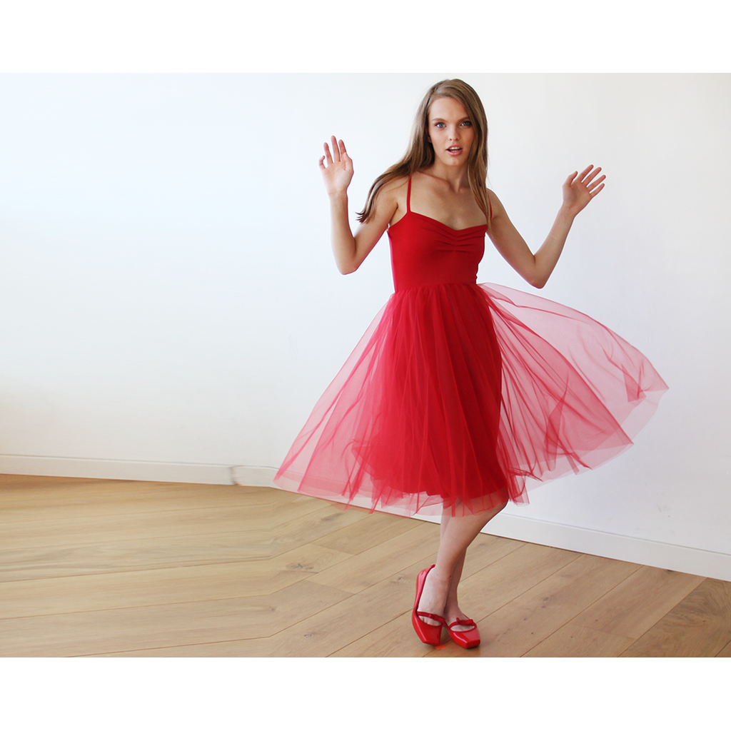 Red Ballerina Tulle Midi Dress
