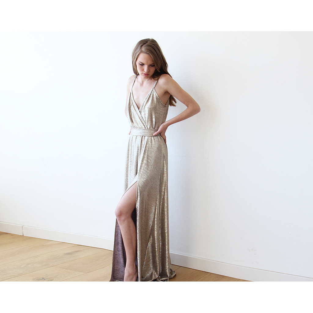 Metallic Gold Wrap Gown With Slit 1110