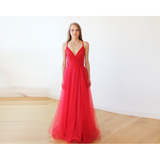 Red straps maxi tulle dress 1053
