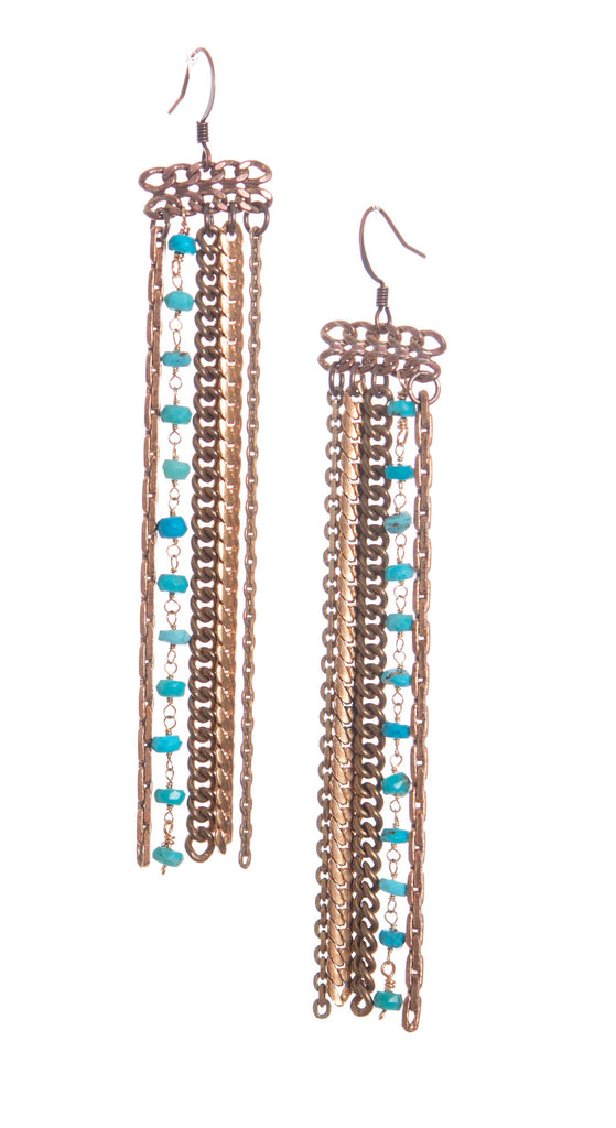 Hailey Gerrits Turquoise Tassel Earrings - Brownie Sparkles