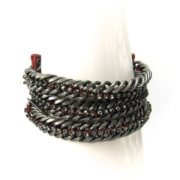 Butter Gunmetal Red Leather Rhinestone Bracelet - Brownie Sparkles - 1