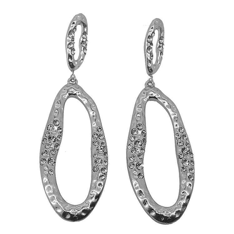 Karine Sultan Silver Drop Crystal Earrings - Brownie Sparkles