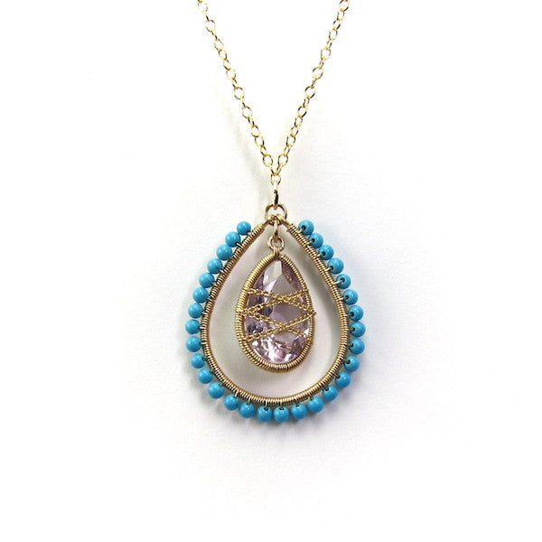 Leah Turquoise Amethyst Necklace - Brownie Sparkles