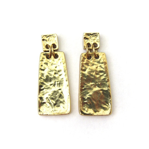 Karine Sultan Square/Rectangular Pendant Gold Oxidized Earrings - Brownie Sparkles