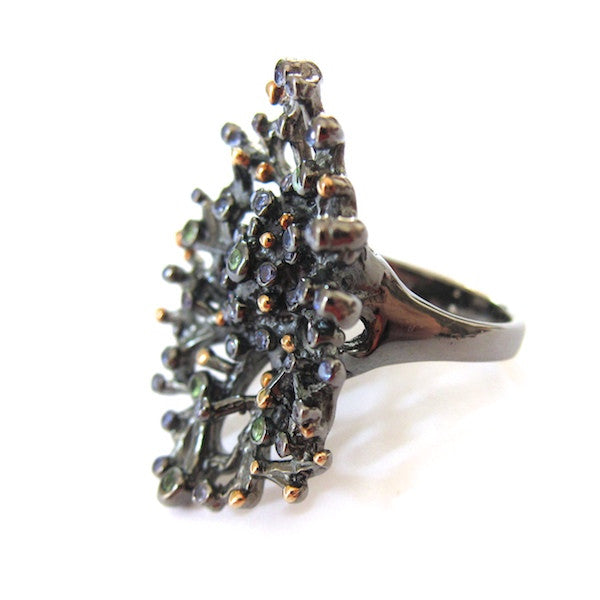 Passion Blue Sapphire, Peridot Gunmetal Coral Ring - Brownie Sparkles - 2