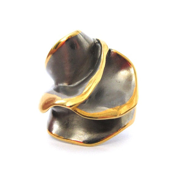 Passion Sculptural Gunmetal Ring - Brownie Sparkles - 1