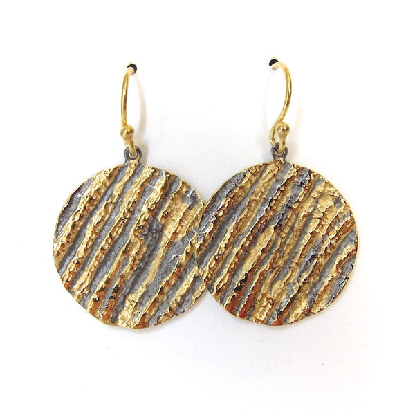 Passion Textured Silver and Gold Disc Earrings - Brownie Sparkles