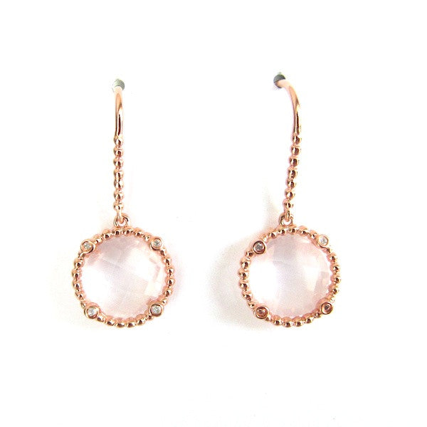 ToffeeTaffy Rose Quartz Rose Gold Diamond  Earrings - Brownie Sparkles